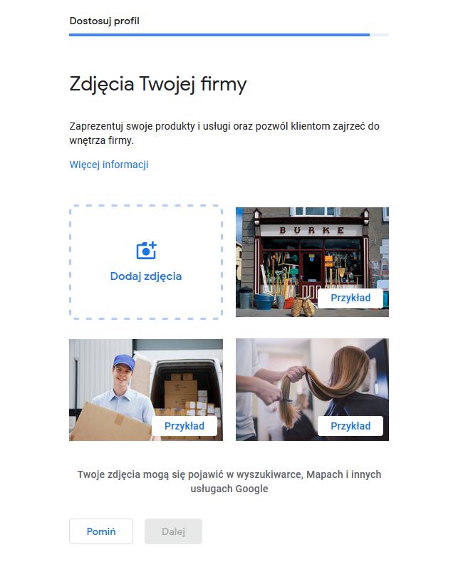 Zakładanie wizytówki Google Moja Firma - dodawanie zdjęć dowizytówki
