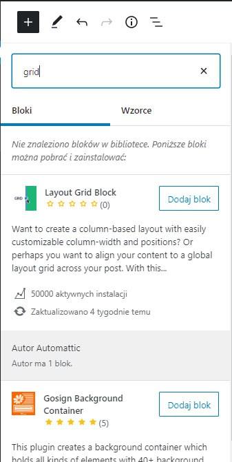 Gutenberg - instalacja bloku zpoziomu edycji treści