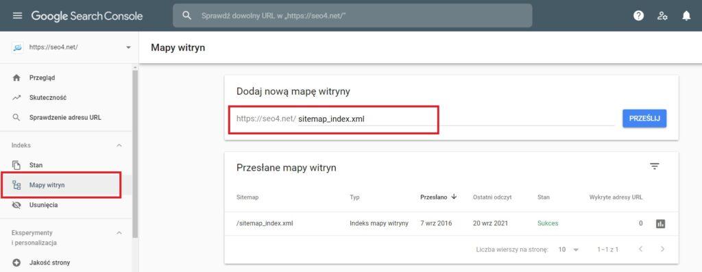 Zgłaszanie mapy witryny wGoogle Search Console