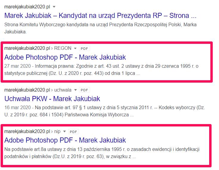 marekjakubiak2020.pl - wyniki SERP