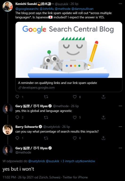 Informacja zTwittera oLink Spam Update 2021