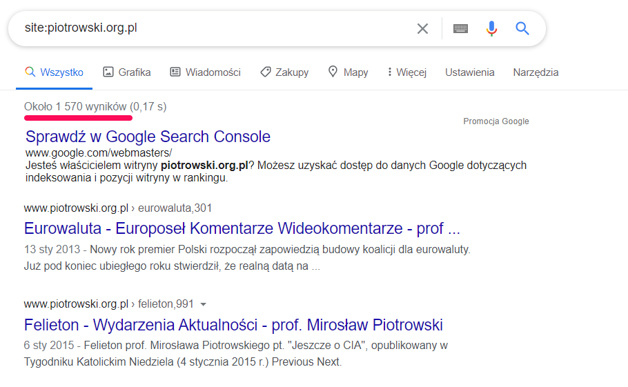 piotrowski.org.pl - widok SERP