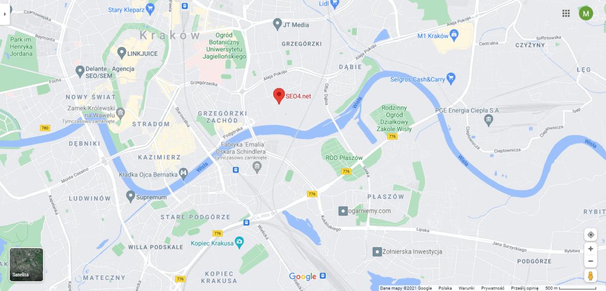 Mapa Google z zaznaczoną lokalizacją agencji SEO4.net Pozycjonowanie i Optymalizacja