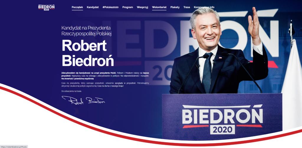 robertbiedron.pl - widok strony głównej