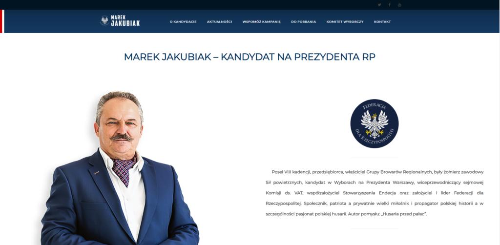 marekjakubiak2020.pl - widok strony głównej