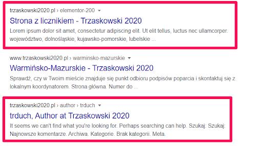 trzaskowski2020.pl - wyniki SERP
