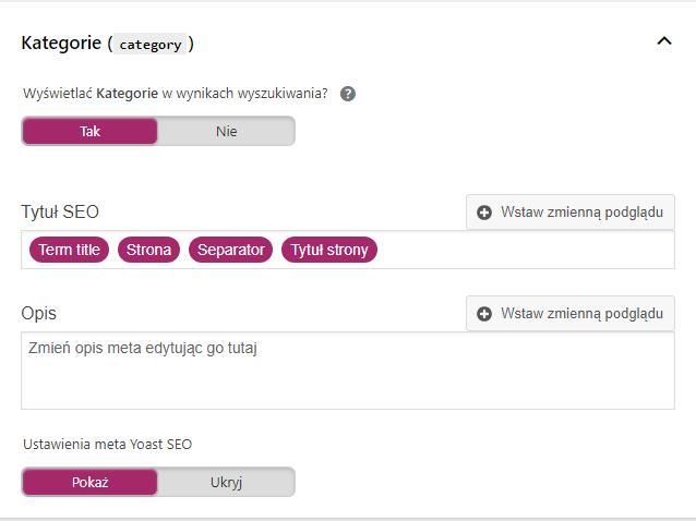 Przykład ustawień domyślnych tytułów iopisów dla podstron kategorii zapomocą Yoast SEO