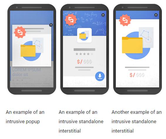 Wpływ okienka pop-up napozycjonowanie wyszukiwarce Google wwynikach mobile
